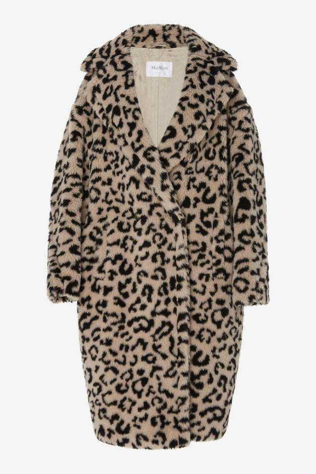 Edy Oversized Faux Leopard Shearling Coat
