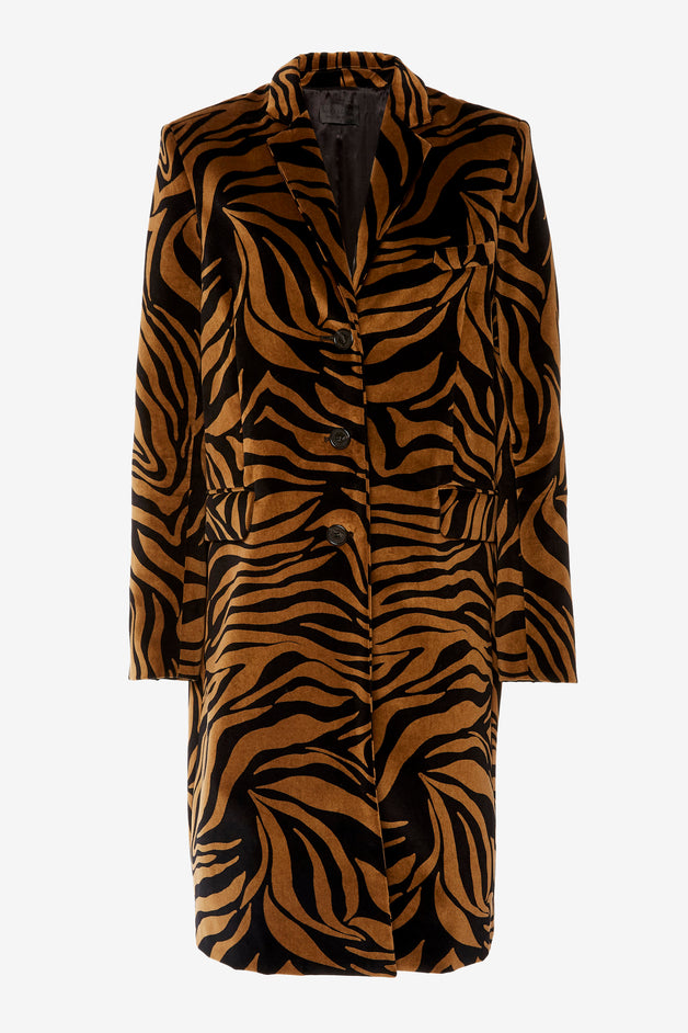 Tiger-Print Cotton Coat