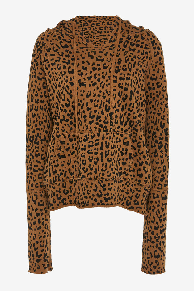 Leopard Printed Cotton-Jersey Hoodie