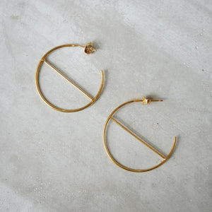 Geometric Hoop Earrings in Gold