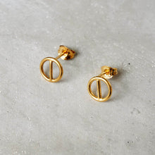 Load image into Gallery viewer, Geometric Circular Ear Studs in Gold