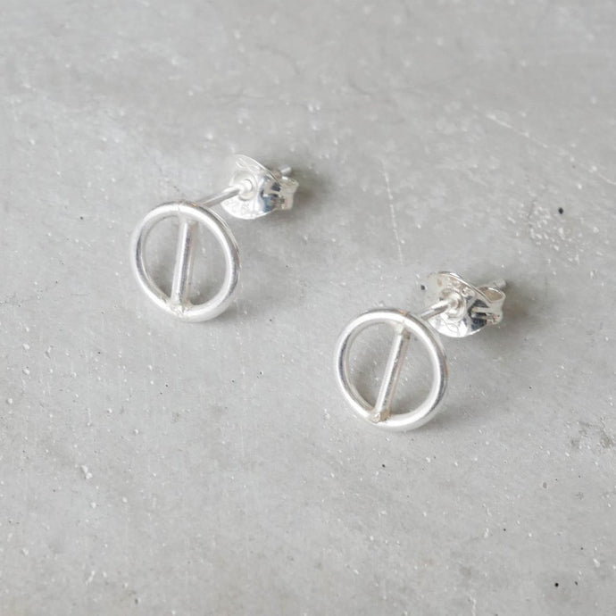 Geometric Circular Ear Studs in Silver