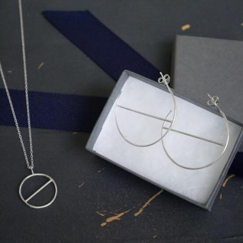 Silver Geometric Duo - Sterling silver hoops and necklace bundle