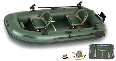 Sea Eagle Stealth Stalker STS10 Frameless Fishing 2 Adult Pontoon Boat, Green - Refresh The Camping Spirit