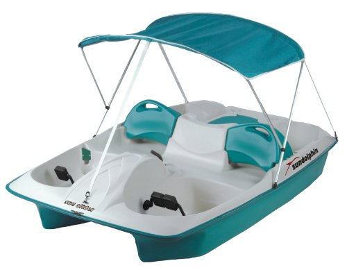 Sun Dolphin Inflatable Pedal Boat Sun Slider 5 Seat with Canopy (Teal)-Canopy Folds Down - Refresh The Camping Spirit