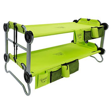 Disc-O-Bed Youth Kid-O-Bunk Bed -Folding-with Organizers, Lime Green- Perfect for Camping - Refresh The Camping Spirit