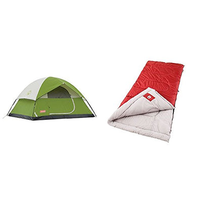 Coleman Sundome 4-Person Hiking Tent w/ 2 Coleman Palmetto Cool Weather Sleeping Bags- Package Deal - Refresh The Camping Spirit
