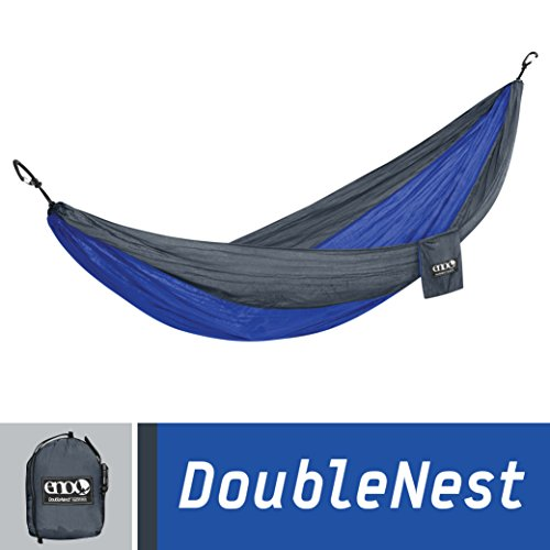 Eagles Nest Outfitters - DoubleNest Camping Hammock, Charcoal/Royal- Sleeps 2- Supports 400 lbs - Refresh The Camping Spirit