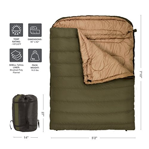 sneakers for cheap ef0c3 91835 TETON Sports Mammoth 0f Queen Size Sleeping Bag; Double Sleeping Bag-Zero  Degrees- Perfect for Base Camp while Cold Weather Camping, Backpacking, and  ...