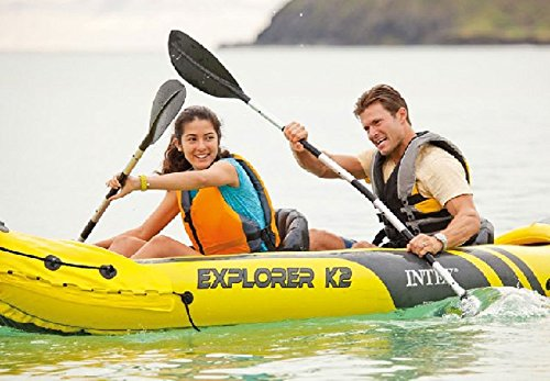 Intex Explorer K2 Kayak, 2-Person Inflatable Kayak Set with Aluminum Oars and High Output Air Pump - Refresh The Camping Spirit