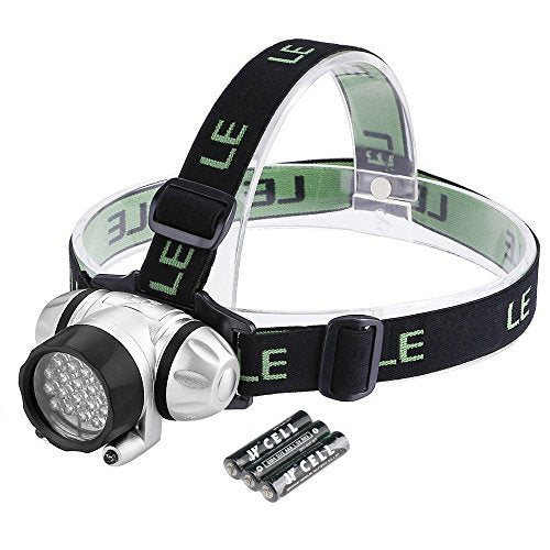 LE Headlamp LED, 4 Modes Headlight, Battery Powered Helmet Light, Waterproof for Camping, Running, Hiking and Reading, 3 AAA Batteries Included - Refresh The Camping Spirit