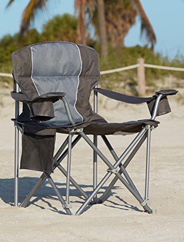 500-lb. Capacity XL Heavy-Duty Portable Camping Folding Chair (Charcoal) - Refresh The Camping Spirit