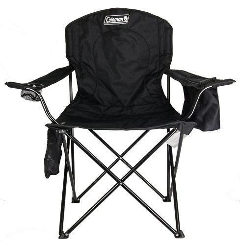 Coleman Cooler Quad Portable Folding Camping Chair, Black-Supports 300 lbs - Refresh The Camping Spirit