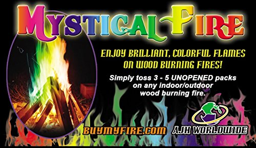 Mystical Fire Flame Colorant Vibrant Long-Lasting Pulsating Rainbow Flame Color Changer for Indoor or Outdoor Use 0.882 oz Packets 12 Pack - Refresh The Camping Spirit