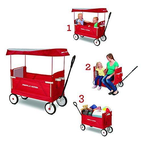 Radio Flyer 3 In 1 Ez Fold Wagon With Canopy For Kids And Cargo