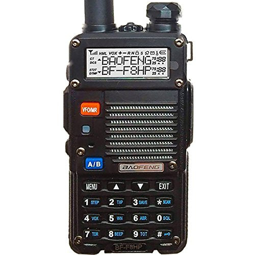 BaoFeng BF-F8HP (UV-5R 3rd Gen) 8-Watt Dual Band Two-Way Radio (136-174MHz VHF & 400-520MHz UHF) Includes Full Kit with Large Battery - Refresh The Camping Spirit
