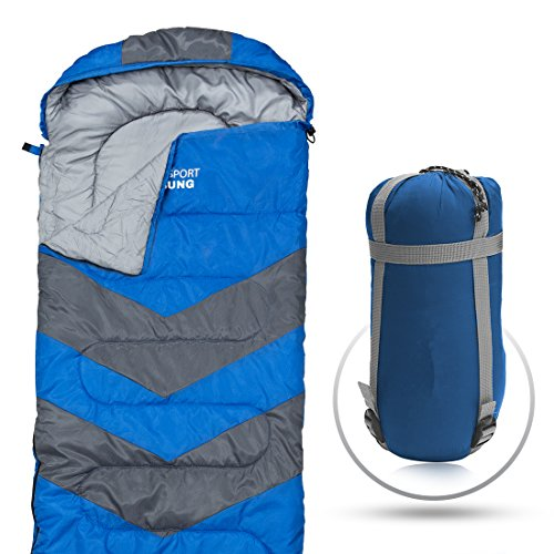 Sleeping Bag – Envelope Lightweight Portable, Waterproof, Comfort With Compression Sack - Great For 4 Season Traveling, Camping, Hiking, & Outdoor Activities. (SINGLE)