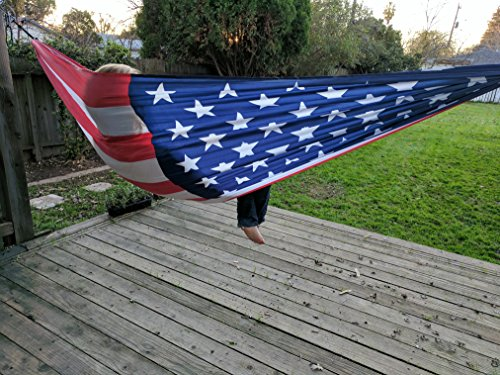 Freedom Flag American Flag Hammock; Portable Double Wide Parachute Camping Hammock with Patriotic USA Flag design - Refresh The Camping Spirit