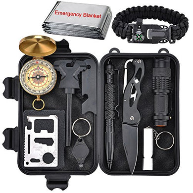 Emergency Survival Kit 13 in 1, XUANLAN Outdoor Survival Gear Tool with Survival Bracelet, Folding Knife, Compass, Emergency Blanket, Whistle, Tactical Pen for Camping, Hiking, Climbing - Refresh The Camping Spirit