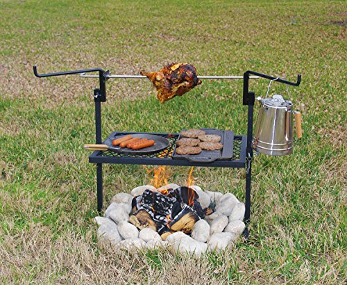 Texsport Heavy Duty Adjustable Outdoor Camping Rotisserie Grill and Spit- No tools needed - Refresh The Camping Spirit