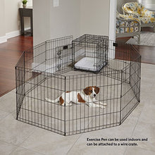 "MidWest Foldable Metal Exercise Pen / Pet Playpen. Black w/ door, 24""W x 36""H - Refresh The Camping Spirit"