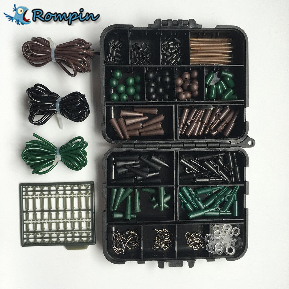 New Rompin Carp Fishing Combo Tackle Box with Hair Rig Hooks Rubber Tubes Swivels Beads Sleeves Stoppers - Refresh The Camping Spirit