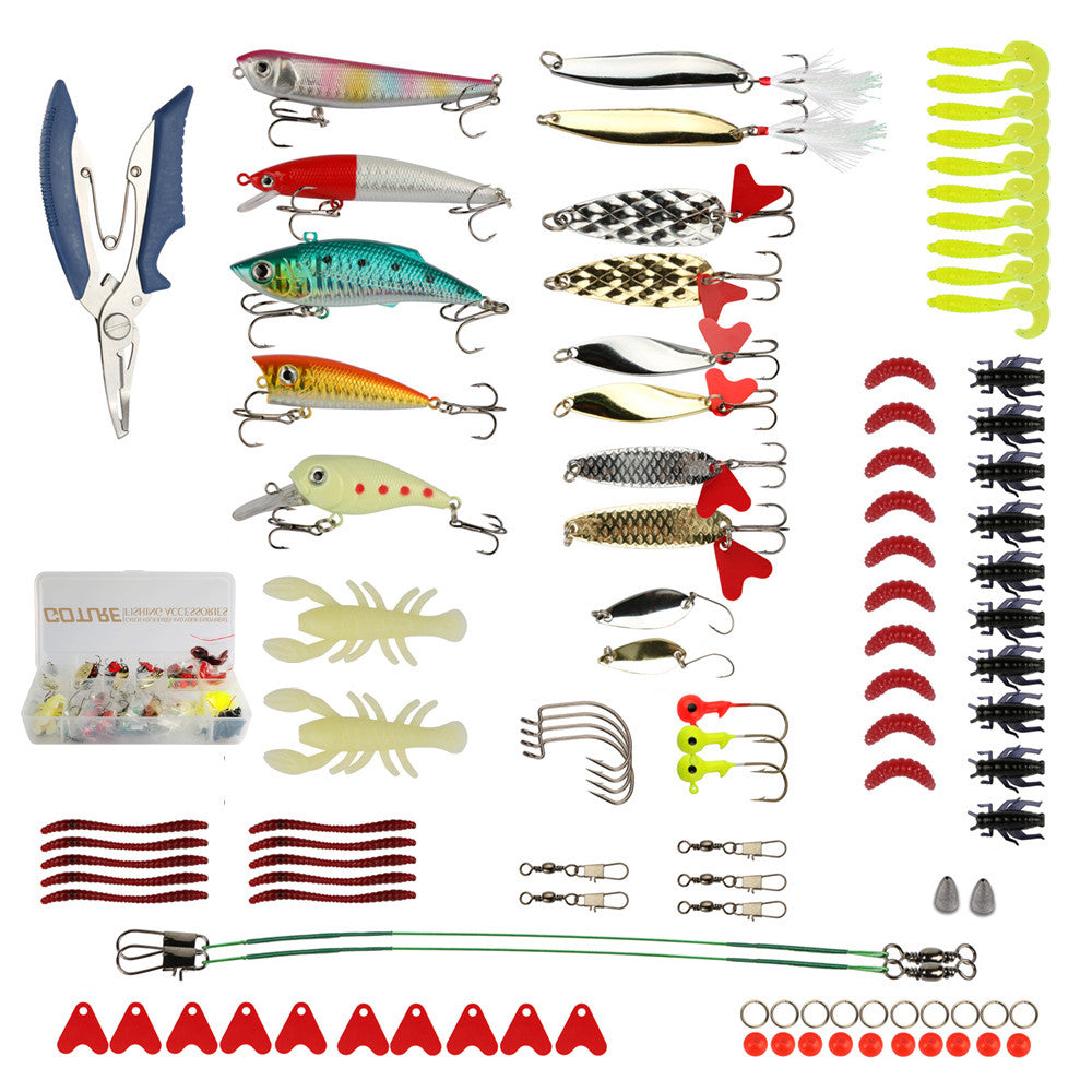 New Goture 104pcs Fishing Tackle Box Lure Kit Wobblers Minnow Popper Spinner Spoon Soft Silicone Bait Lures Fishing With Hook and Plier Pesca - Refresh The Camping Spirit