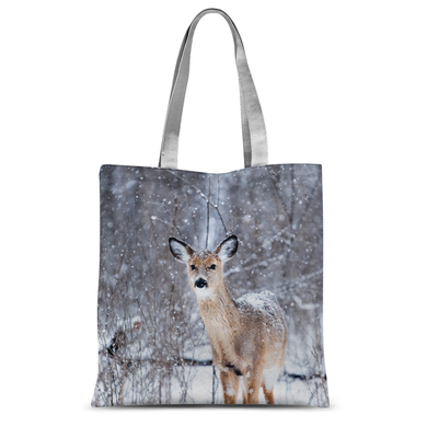 Beautiful Deer in the Snow All Over Tote Bag 15