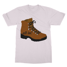 "Hiking T-Shirt with ""ALL IN"" Theme and Hiking Boot-Softstyle Ringspun T-Shirt - Refresh The Camping Spirit"