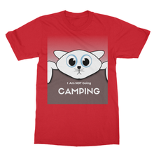 "Hanging Cat Declares ""I'm NOT Going Camping""  Softstyle Unisex Ringspun T-Shirt - Refresh The Camping Spirit"