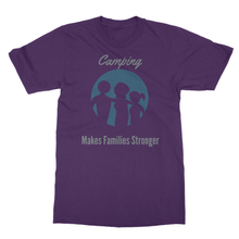 "Unisex- ""Camping Makes Families Stronger"" Themed Short Sleeved Softstyle Ringspun T-Shirt - Refresh The Camping Spirit"