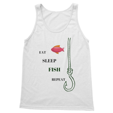 Fishing Softstyle Tank Top-Unisex Red and White- Eat-Sleep-Fish-Repeat Themed - Refresh The Camping Spirit
