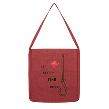 Fishing Theme Long Strap Custom Designed Tote Bag-100% recycled Materials - Refresh The Camping Spirit