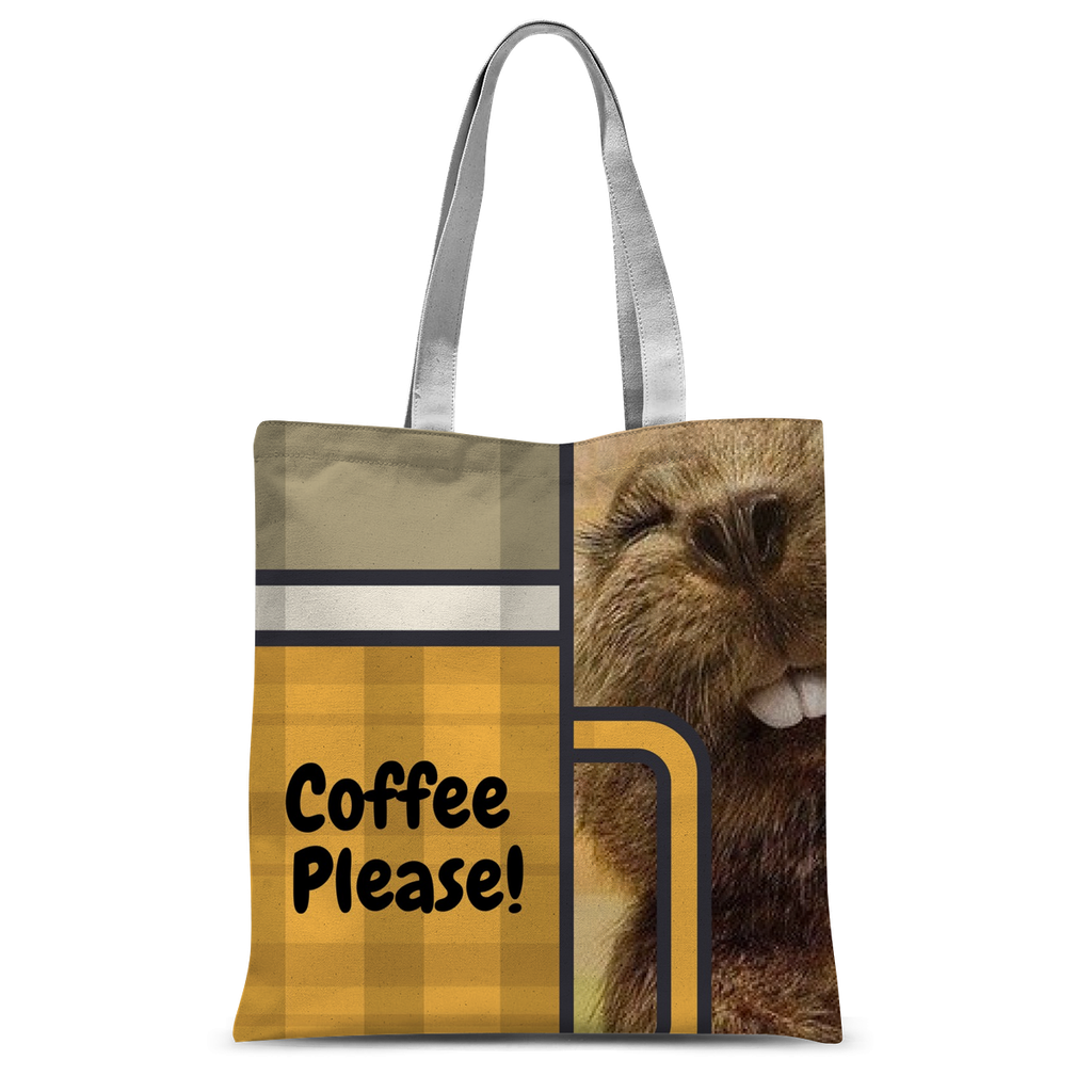 Coffee Drinking Gopher Custom Tote Bag-