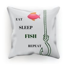 Fishing Theme Canvas Cushion-Pillow-Eat-Sleep-Fish-Repeat - Refresh The Camping Spirit