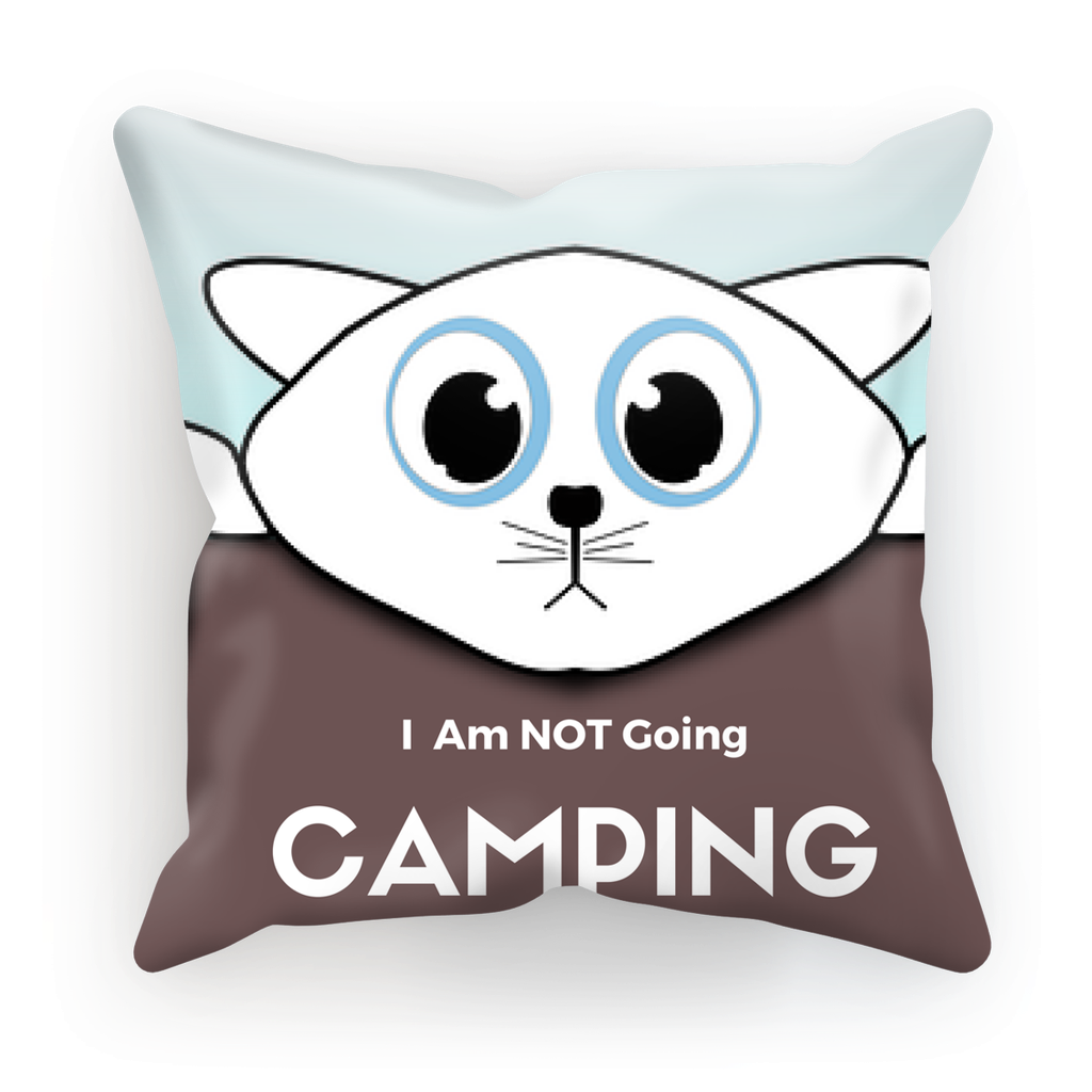 I Am NOT Going Camping 18'x18' Linen Cushion Camping Accessories with Hanging Cat - Refresh The Camping Spirit