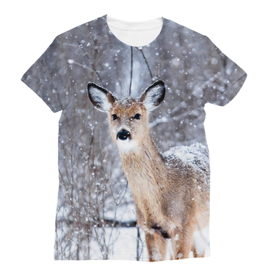 Beautiful Deer T-Shirt-All Over the Snowy Woods Sublimation Camping Unisex Tee - Refresh The Camping Spirit