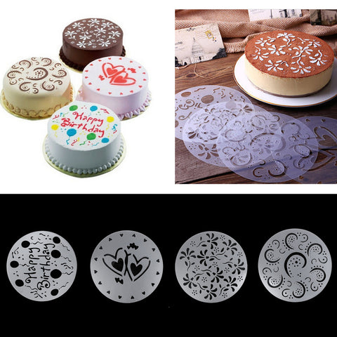 Baking Stencil Template 4 Pcs (4 Styles)