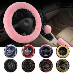 New Wool Plush Car Steering Covers full pack