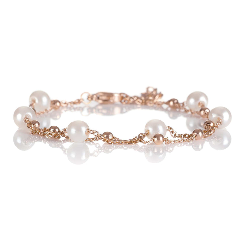 Double Chain Bracelet with Pearls