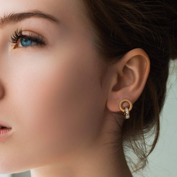 Earrings with Joined Rings