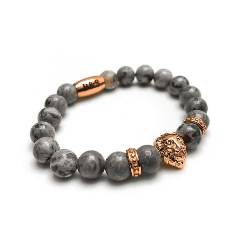 Rose Gold Lion & Grey Stones Bracelet - Brother & Sisters