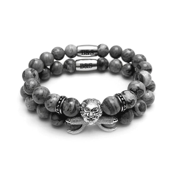 White Gold Lion & Grey Stones Set - Brother & Sisters