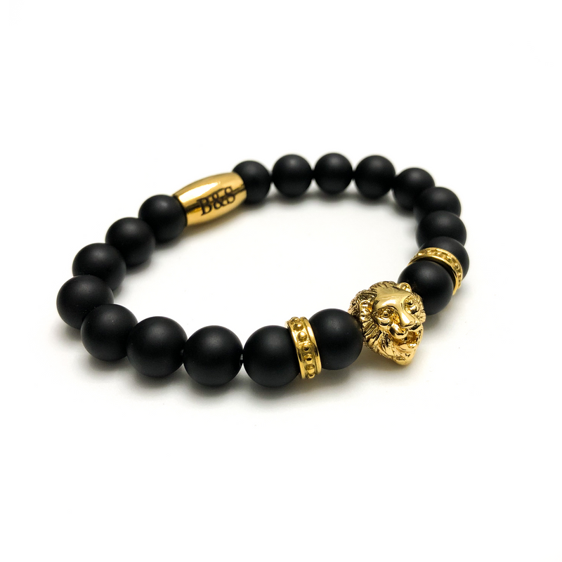 Gold Lion & Black Stones Bracelet