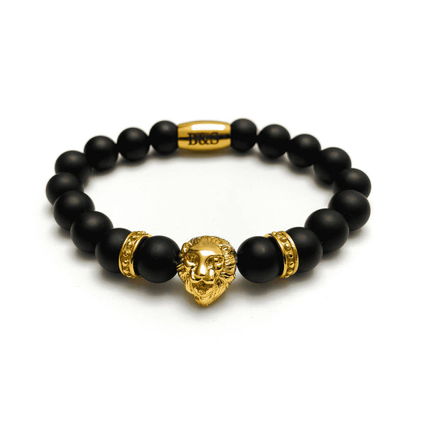 Gold Lion & Black Stones Bracelet - Brother & Sisters