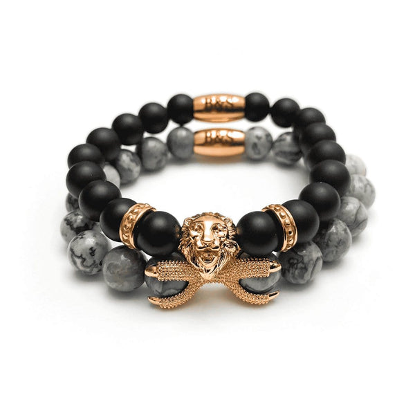 Rose Gold Lion with Black & Grey Stones Set - Brother & Sisters