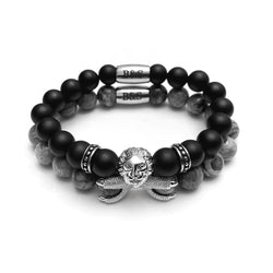 White Gold Lion with Black & Grey Stones Set - Brother & Sisters