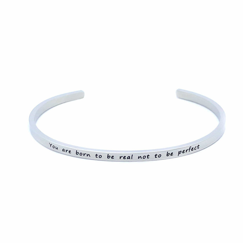 Brother & Sisters bracelet 18k White Gold You are born to be real not to be perfect