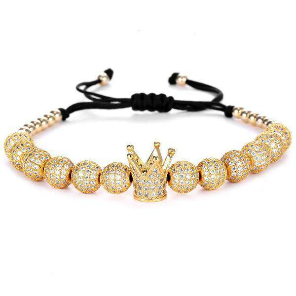 Brother & Sisters bracelet 24k Gold Crown & Beads with Zircons