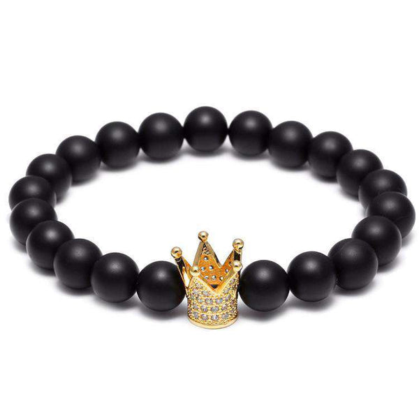 Brother & Sisters bracelet 24k Gold Crown & Matte Beads